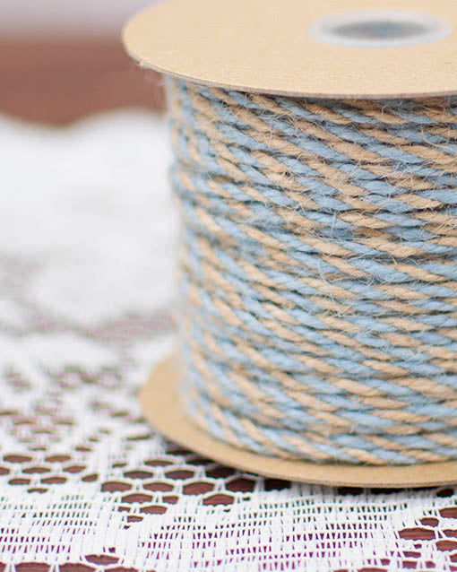 Natural and Light Blue Twisted Jute Bakers Twine, 50 yards