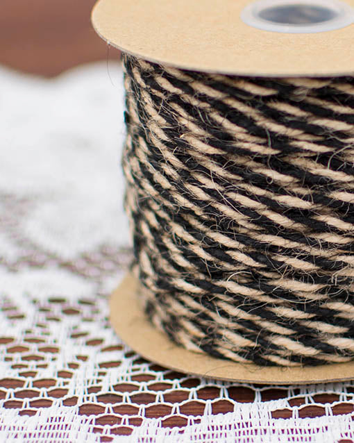 Natural and Black Twisted Jute Bakers Twine, 50 yards
