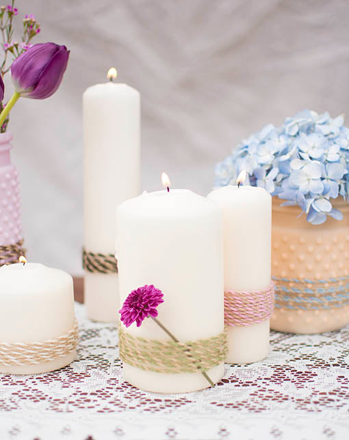 Charm party goers with your delightful centerpieces, combining candles, vases, florals and our colorful array of natural bakers twine.