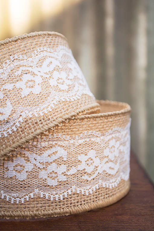 Wired Burlap Ribbon with Lace Overlay, 10 yds