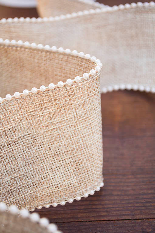 Burlap Ribbon, Wired, Pearl Trim, 10 yards
