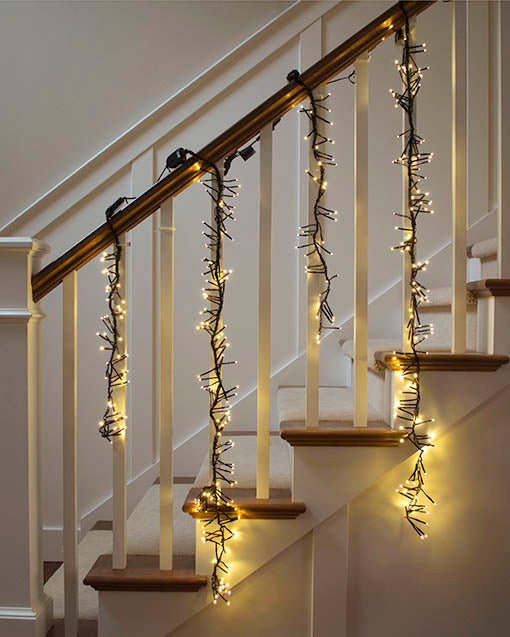 Warm White LED lights on Black Wire, Cluster Garland, 2 feet long