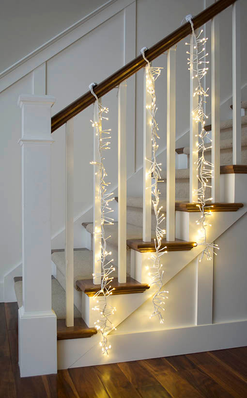 Cluster Garland, White Wire, Warm White Lights, 4 foot length