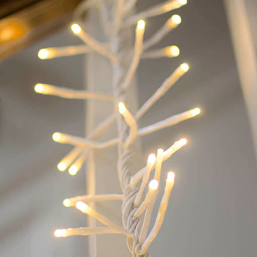 White Wire Cluster Garland, 4 ft, Warm White Light
