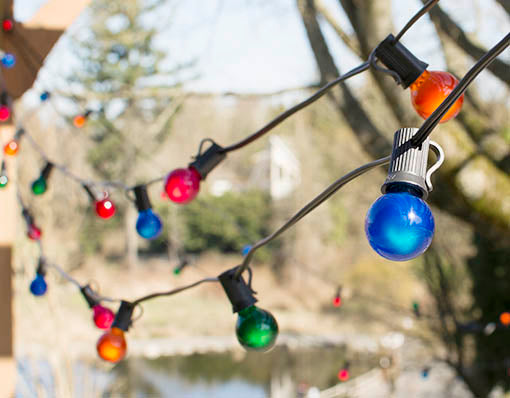 100 foot length, Multicolored Globe String Lights, G30 Bulbs, Black Wire