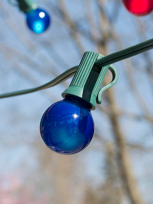 25 ft Multicolored Globe String Lights, G30 Bulbs, Green Wire