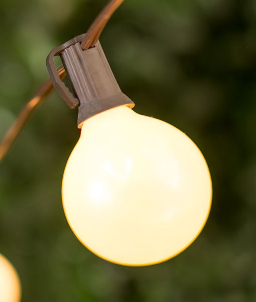 50 foot brown globe string lights with g50 2inch pearl bulbs