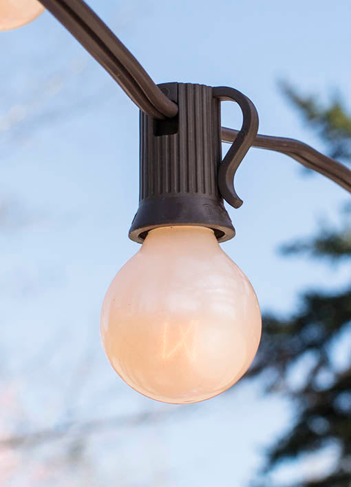 Globe String Lights, 1.25 in. Bulbs, 50 ft Brown Wire, E12, C7, Pearl