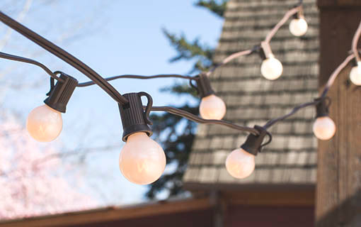 50 ft Pearl White Globe String Lights, G30 Bulbs, Brown Wire