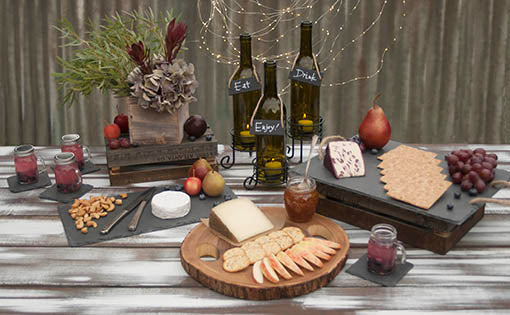 Group Photo of Wine and Cheese Party Serving Trays