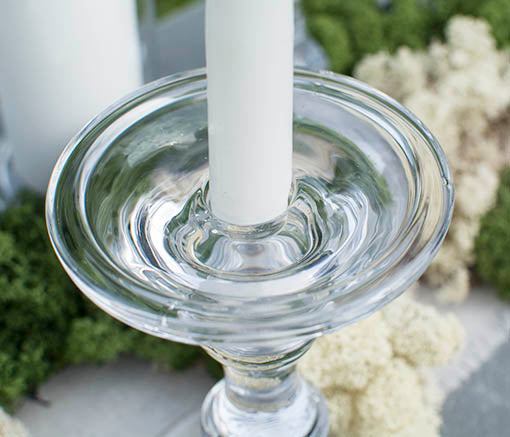 Each of  these glass candle sticks are engineered to accommodate both pillar and taper candles!