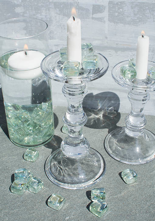 Keep your presentation crystal clear with an all glass candle accessory display!
