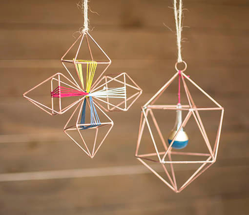 For a complete look, pair both Geometric Wire Ornaments with embroidery floss and hand painted glass drop ornaments.
