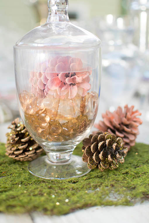 Fill apothecary jars with glimmering gems and colorful painted pine cones to create a fresh accent for fall weddings or celebrations!