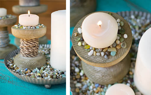 Scatter filler on and around natural wood and metal accessories to set a nautical tone!