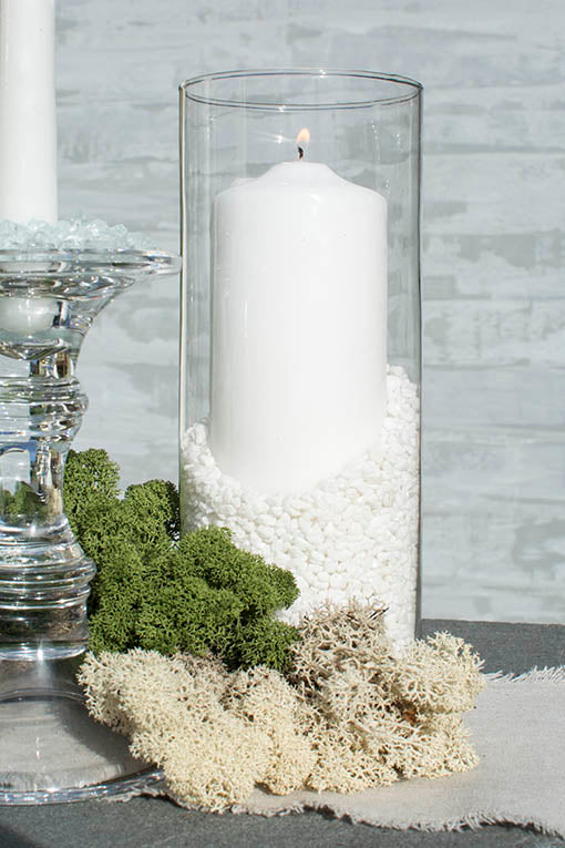 Showcase this light and bright vase filler in any of our glass vases, surrounded by natural mosses for texture. We also have a wide size and shape range of real wax candles to nestle in the filler. All items sold separately.