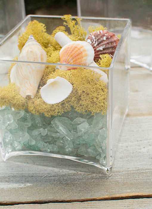 Combine our glass filler with decorative mosses and seashells for a seaworthy accent!