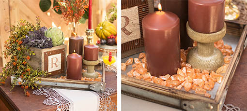 Contain your filler in any of our attractive closed-bottom trays for a neatly-defined centerpiece. Shown with our wood pedestals, chocolate brown candles, pewter lace table runners and weathered wood boxes, all sold separately.