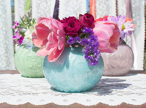 Dress your table in true Louis XV style with fleur-de-lis-inspired pastel mercury glass! Fill with candles or flowers for a touch of delicate drama.