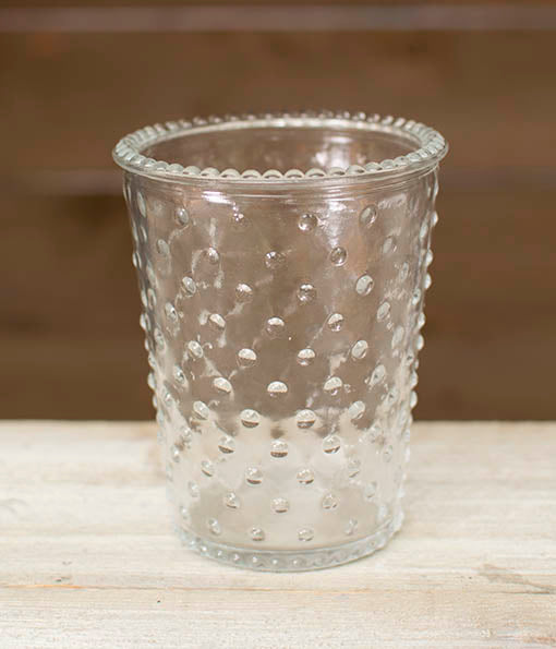 Each vase is textured with hobnail accents and trim for a vintage inspired piece.