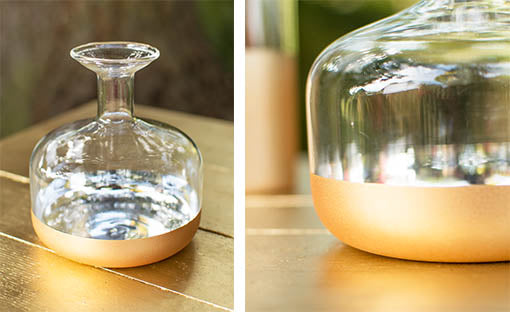 Glass Bud Vase, 4 in. round x 4.5 in tall, Clear and Gold