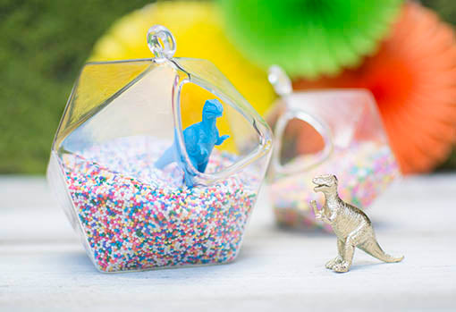 Rawr! Your party or shower table gets sweeter with critters set in candy sprinkles!