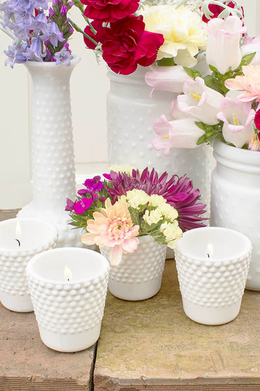 Create clean design around our collection of milky white hobnail decor!