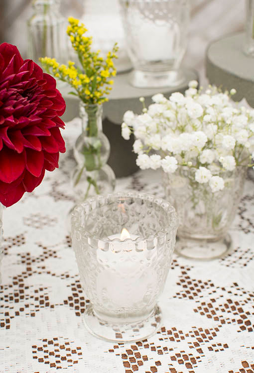 Add our flameless or real wax tea light candles for idyllic luminescence in your shabby inspired event.