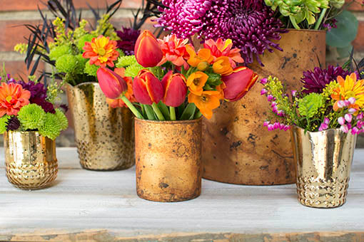 Use these shining vases in combination with our matte mercury glass offerings for a beautiful visual texture.
