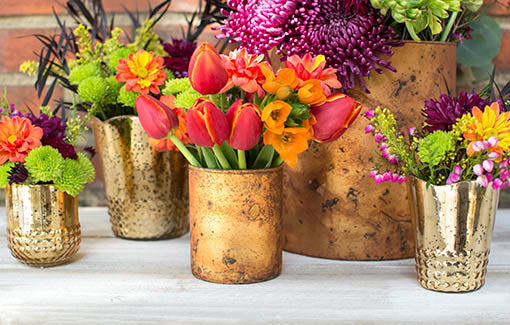 Arrange our matte gold vases alongside the sheen of our other mercury glass candle holders to show off your unique rustic style.