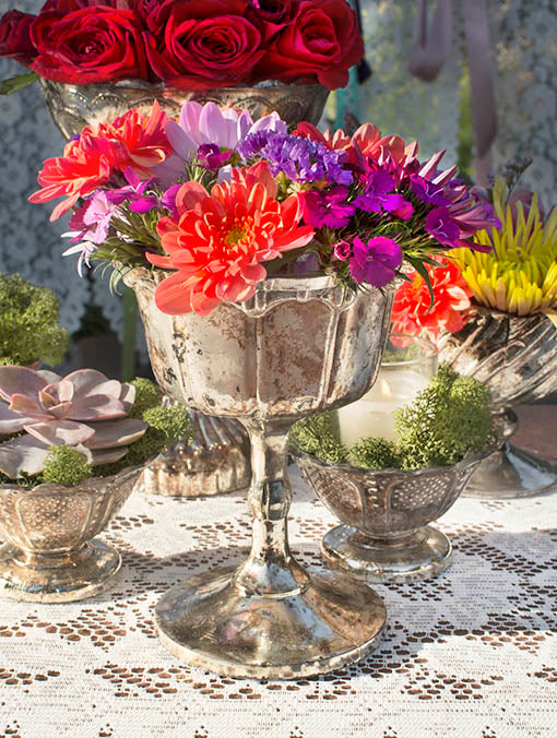 Daring, dramatic tablescapes are yours, using these vintage-style mercury glass compotes.