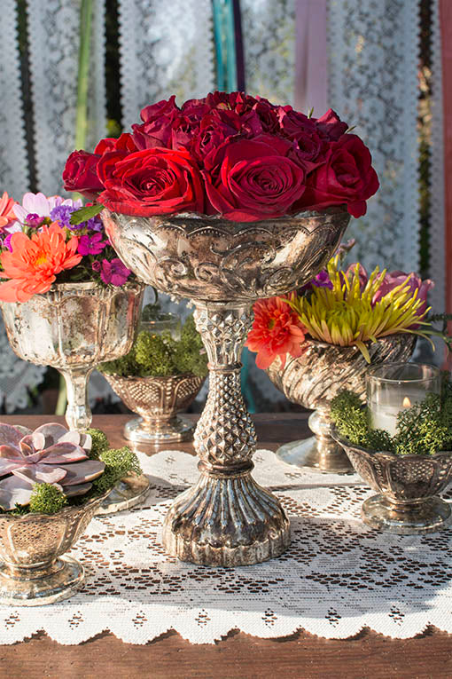 Victorian, Steampunk, vintage or Romantic themes are easy to achieve, using our variety of antiqued mercury glass compotes.