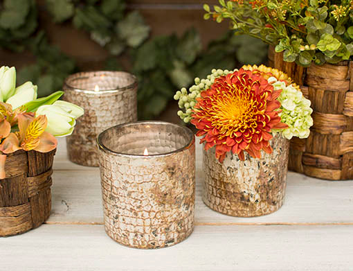 Pair our textured vases with our woven planters as the perfect Thanksgiving table design!