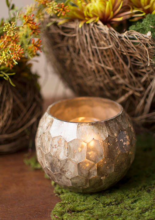 Our candle shelter's unique mercury finish allows the perfect amount of candlelight to warmly shine through.
