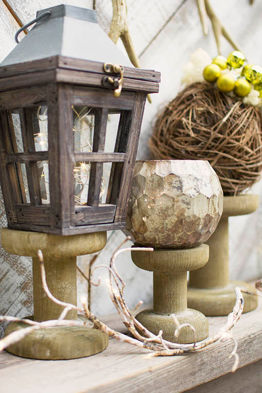 Perfect for mantel displays, pair our honeycomb glass votive holder with wood risers, lanterns and lighted garlands for woodland or holiday flair.