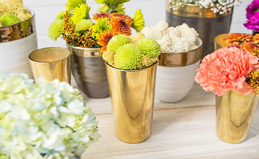 Arrange these holders within an array of hand thrown ceramic pots to create glimmering organic luxury.
