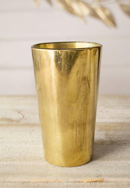 Glass Candle Holder, 5 in. tall x 2.75 inch wide, Gold