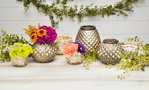 Mix and match our mosaic glass candle holder with our mercury glass candle holders for completed tablescape.