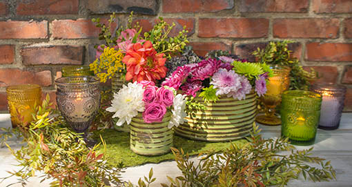 Combine our corrugated vases with votive candles in vintage style glass for a Boho or woodland centerpiece.