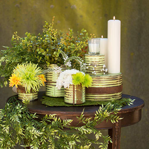 Our ingenious corrugated metal ribbon adds just the right rustic industrial touch to your centerpieces!