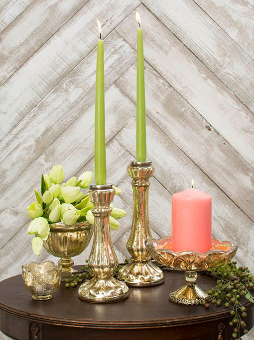 Freshen up your centerpiece by pairing these taper candles with our gold mercury glass candle sticks and decor!