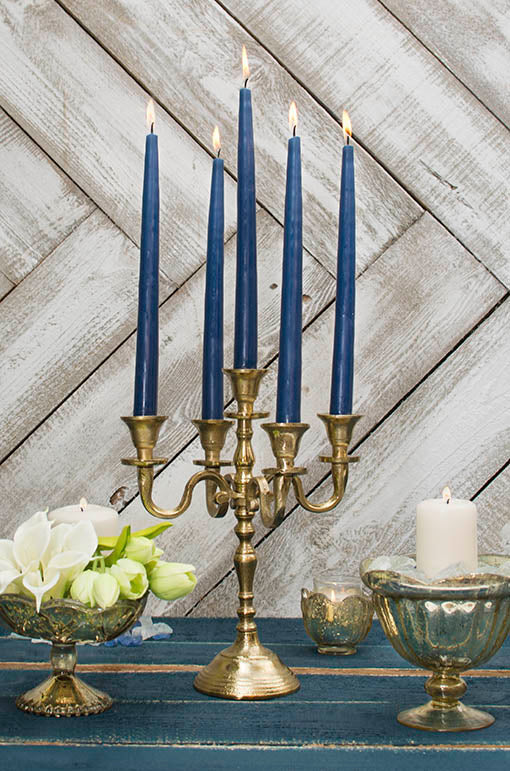 Pair these navy tapers with our gold candelabra and gold mercury glass decor for an enchanting rustic chic centerpiece.