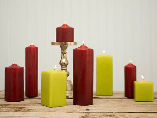 Celebrate the holidays with rich colors illuminating from our pomegranate red and fresh green pillar candles!