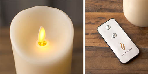 Our Luminara candles are remote control compatible to turn on and off from across the room.