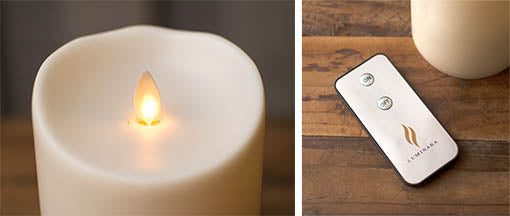Our Luminara candles are remote control compatible (sold separately) to power on and off from across the room.