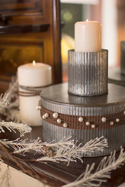 Wrap candles and corrugated vases with our ribbon to create rustic industrial centerpieces for your table or mantel!