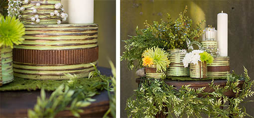 Encourage texture play by coiling vases or tins with our metal ribbon!