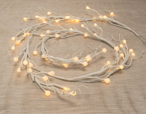 Lighted White Garland, 60 LEDs, Battery Op, 6 feet, Warm White