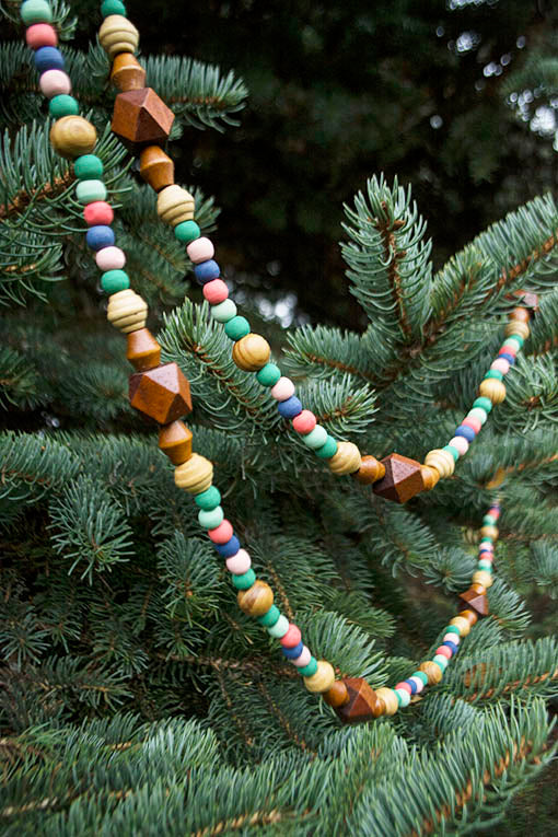 Hang these beads on your Christmas tree or weave within your everyday, year-round decorative greens!