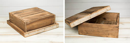 Reclaimed Wood Pie Box with Lid, Square, 13.75 in. wide x 4.5 in. tall